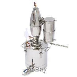 20L/5Gal Alcohol Water Distiller Moonshine Still Boiler Stainless Copper With