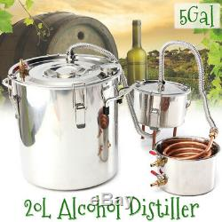 20L 5Gal Still Water Distiller Alcohol Moonshine Stainless Boiler Thumper Keg