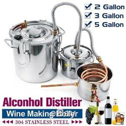 2/3/5 Gallons Alcohol Distiller Moonshine Ethanol Still Stainless Steel FF