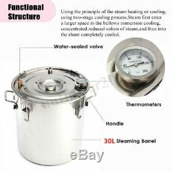 30L Alcohol Moonshine Water Copper Home Stainless Distiller Brewing Thumper Keg