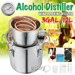 3GAL/12L Distiller Copper Moonshine Ethanol Alcohol Water Distiller Still Stainl