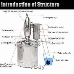 50L Alcohol Stainless Still Distiller Home Brew Kits Moonshine Wine Making Tool