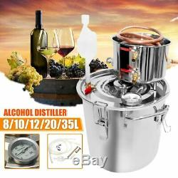8/10/12/20/35L Distiller Moonshine Alcohol Stainless Copper DIY Home Water Wine