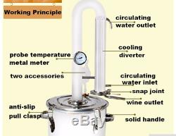 Alcohol Spirits Distiller DIY Home Brew Moonshine Boiler Still Oil Reflux Large