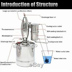 Durable 30L DIY Home Distiller Moonshine Alcohol Stainless Copper Water Wine