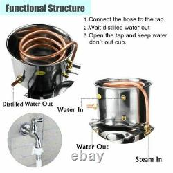 Home DIY Distiller Moonshine Alcohol Stainless Copper Water Wine Oil Brewing Kit