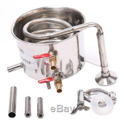 Home Distiller Moonshine Still Stainless Steel Water Alcohol Oil Brewing Kit DIY